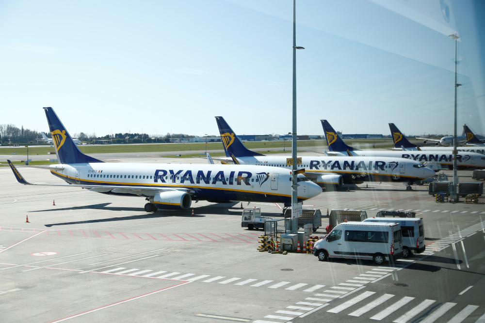 Ryanair aircrafts are parked on the tarmac before the closure of Brussels South Charleroi Airport as airlines have suspended flights to slow down the spread of coronavirus disease, Charleroi, Belgium March 24, 2020. — Reuters pic