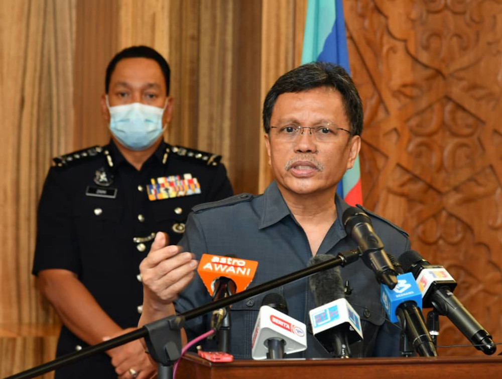 Sabah Chief Minister Datuk Seri Shafie Apdal speaks to the media March 30, 2020. — Picture courtesy of the Sabah Chief Minister's Dept