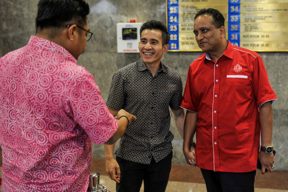 File picture shows Umno information chief Shahril Sufian Hamdan with Datuk Seri Reezal Merican Naina Merican at Umno headquarters after a meeting in Kuala Lumpur, March 12, 2020. — Picture by Shafwan Zaidon