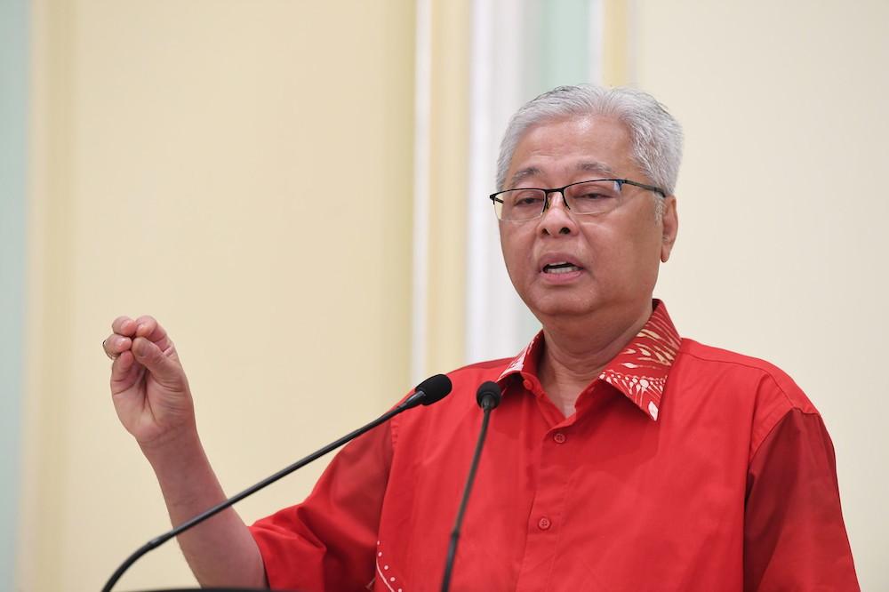 Senior Minister Datuk Seri Ismail Sabri Yaakob speaks during a press conference in Putrajaya April 12, 2020. — Bernama pic