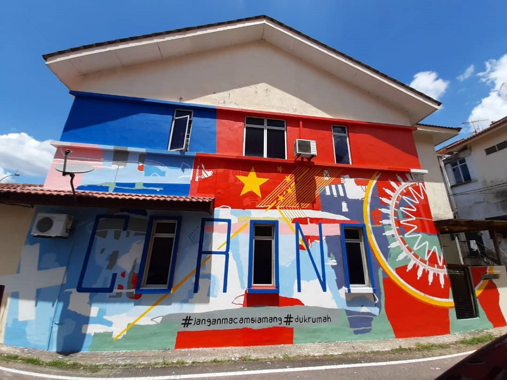 Fakhrul Zaman Mohd Sambas took eight days to complete the Covid-19-themed mural at his home in Bandar Pulai Jaya in Skudai. — Picture courtesy of Fakhrul Zaman