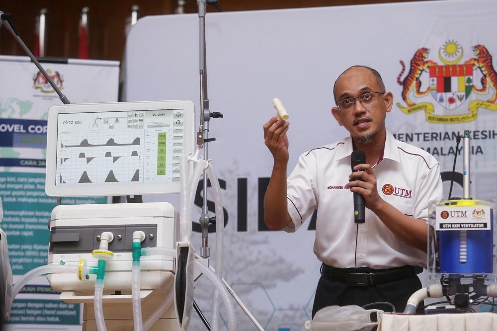 UTM's Engineering Faculty dean Prof. Mohammed Rafiq Abdul Kadir speaks during a media briefing on the Medical Ventilator Apparatus  at the Health Ministry in Putrajaya April 13, 2020.