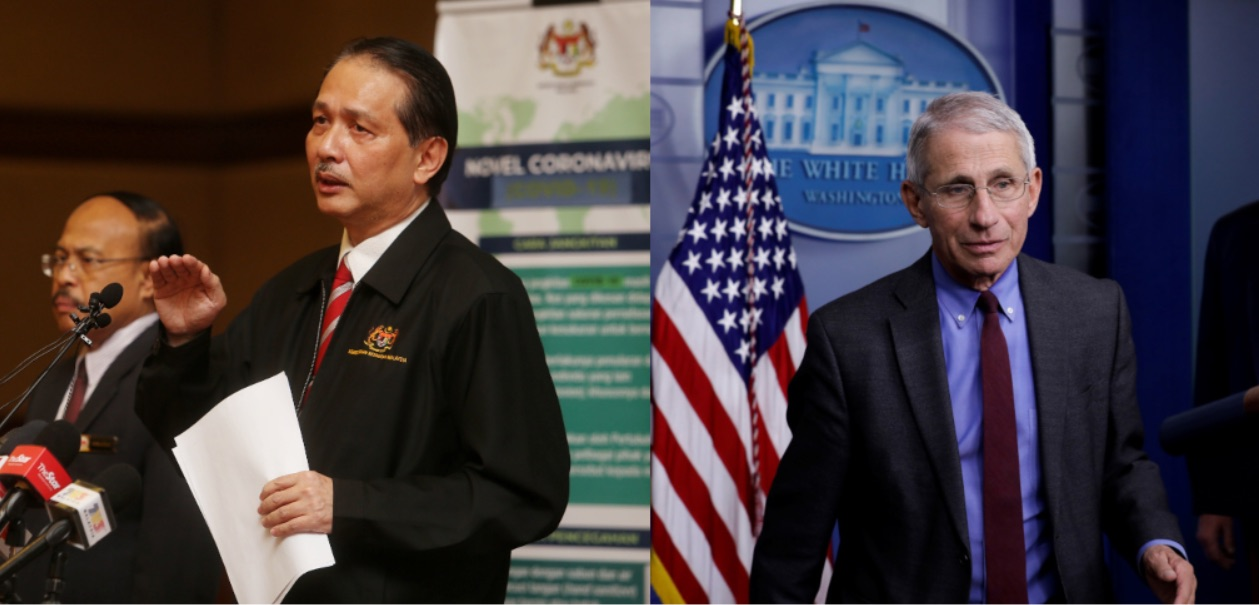 Like Dr Fauci (right), Dr Noor Hisham has been a beacon of hope for Malaysians to find out more about the Covid-19 virus. —Pictures by Choo Choy May & Reuters.