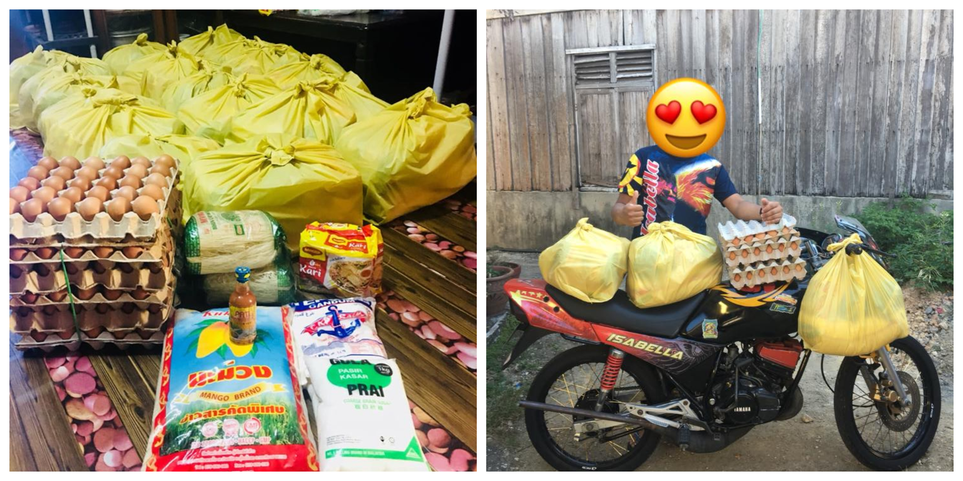 'Mat Rempit' groups banded together to help unfortunate families affected by the MCO. — Photo courtesy of Facebook/ Tea O Beng