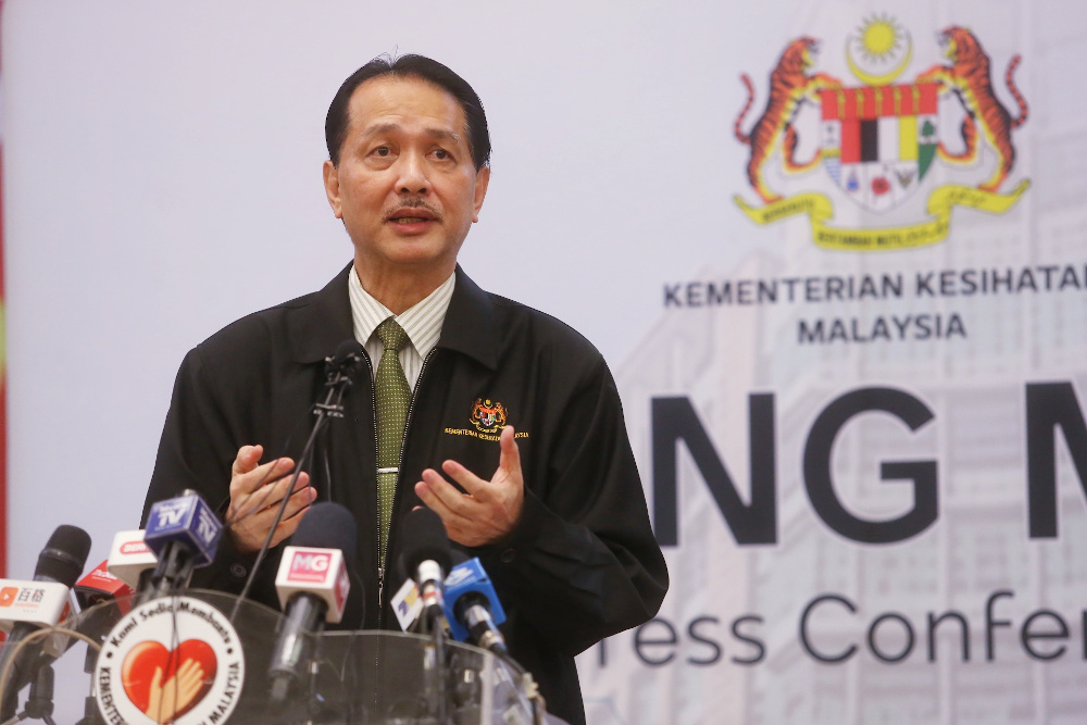 Health director-general Datuk Dr Noor Hisham Abdullah said the number of Covid-19 infections in Malaysia has surpassed the recovery rate for today. — Picture by Choo Choy May