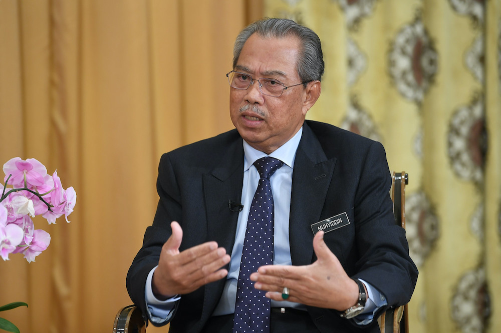 Prime Minister Tan Sri Muhyiddin Yassin is seen during special interview at his office at Perdana Putra, April 25, 2020. — Bernama pic