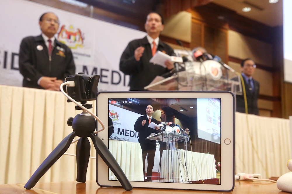 Health director-general Tan Sri Dr Noor Hisham Abdullah said a total of 57 new Covid-19 cases were recorded in Malaysia today. — Picture by Choo Choy May