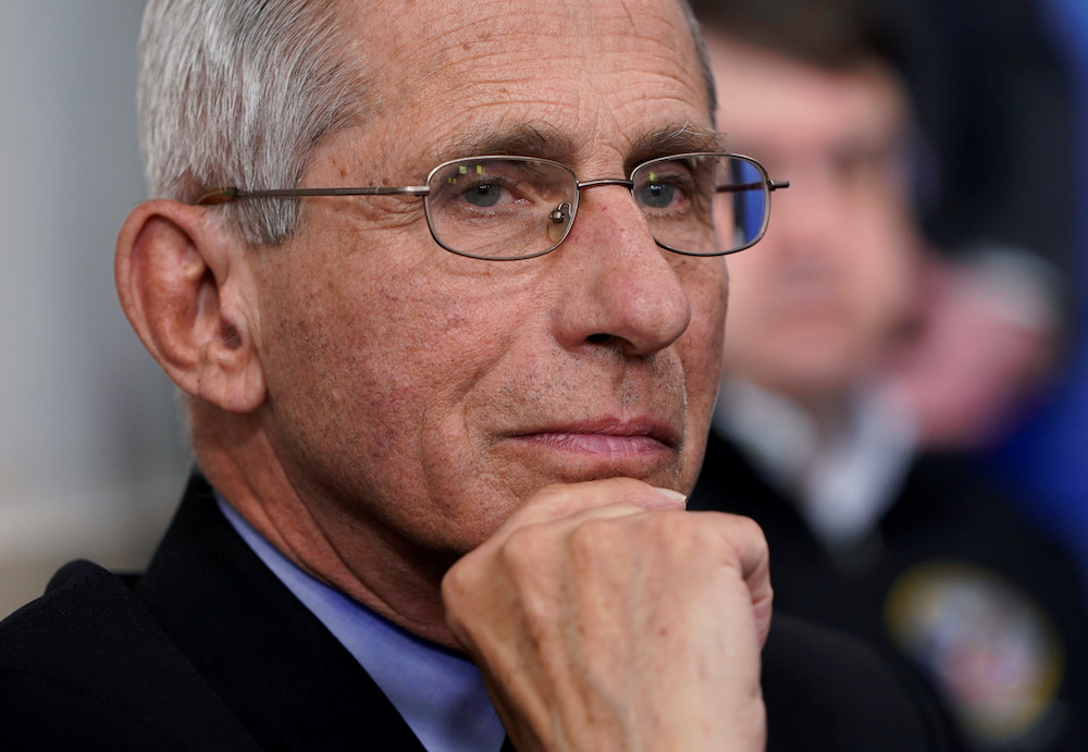 File photo of National Institute of Allergy and Infectious Diseases Director Dr. Anthony Fauci listening during the daily coronavirus task force briefing at the White House in Washington, US, April 5, 2020. — AFP pic