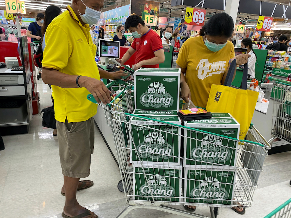 File photo of a man pushing a cart with beer boxes in a supermarket after Bangkok and several other provinces announced a 10-day ban on alcohol sale starting April 10 during the coronavirus disease (Covid-19) outbreak in Bangkok, Thailand, April 9, 2020. — Reuters pic