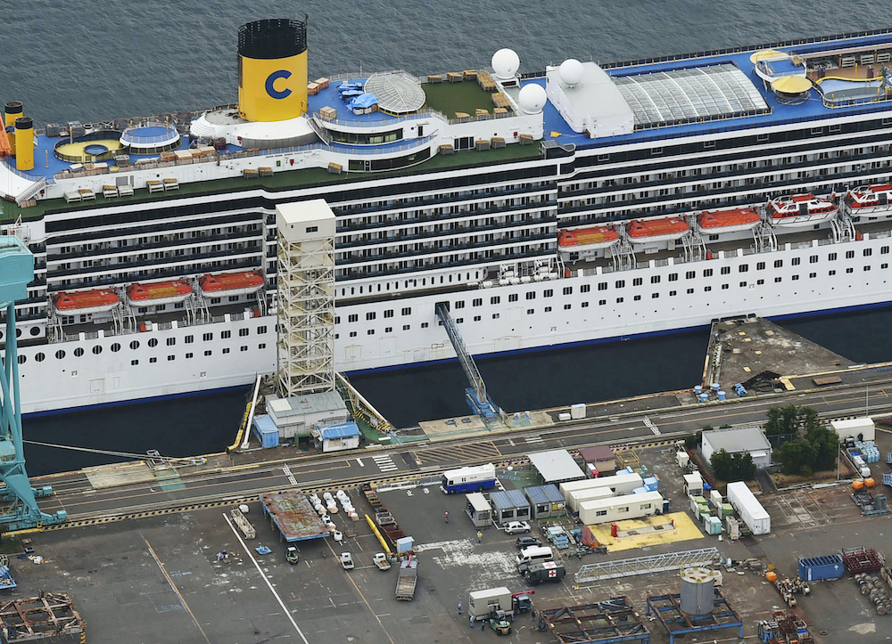 An aerial view shows Italian cruise ship Costa Atlantica, which has crew members confirmed with cases of the coronavirus disease infection, in Nagasaki, southern Japan April 23, 2020. — Kyodo pic via. Reuters