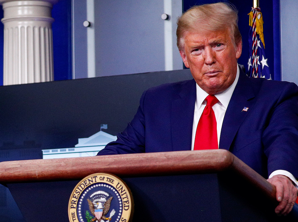 US President Donald Trump addresses the daily coronavirus response briefing at the White House in Washington, US, April 1, 2020. — Reuters pic