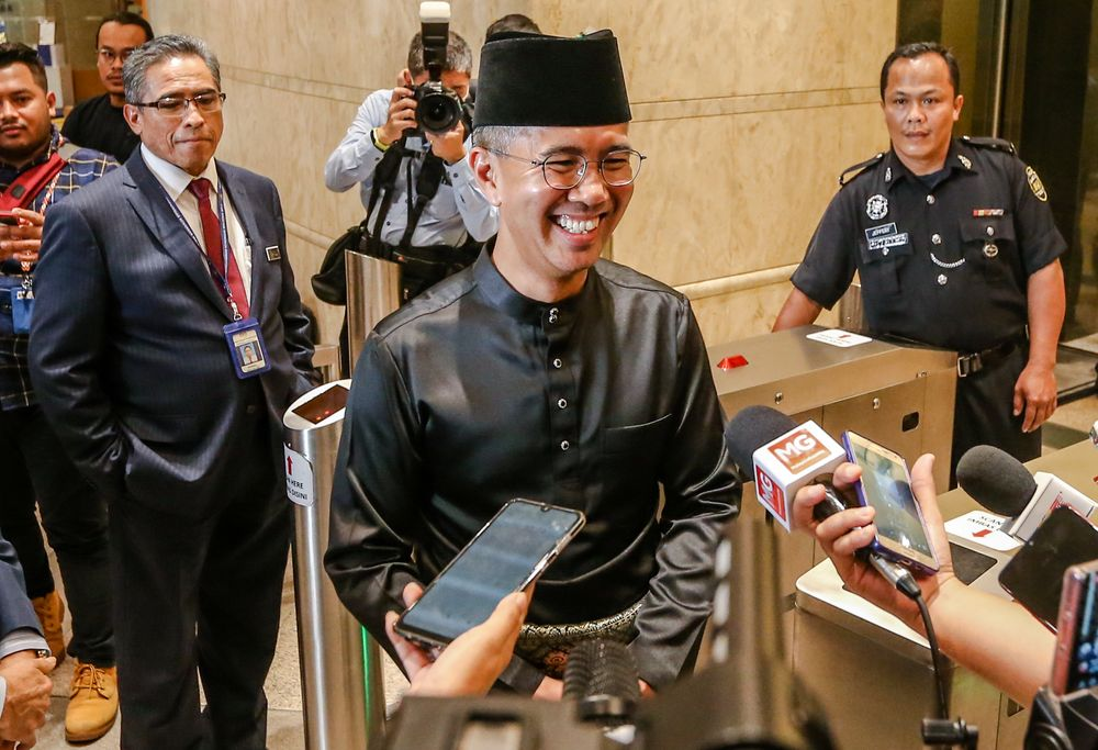 File picture shows Senator Datuk Seri Tengku Zafrul Tengku Abdul Aziz speaking to reporters as he officially begins his first day as Finance Minister in Putrajaya 10, March 10, 2020. — Picture by Firdaus Latif