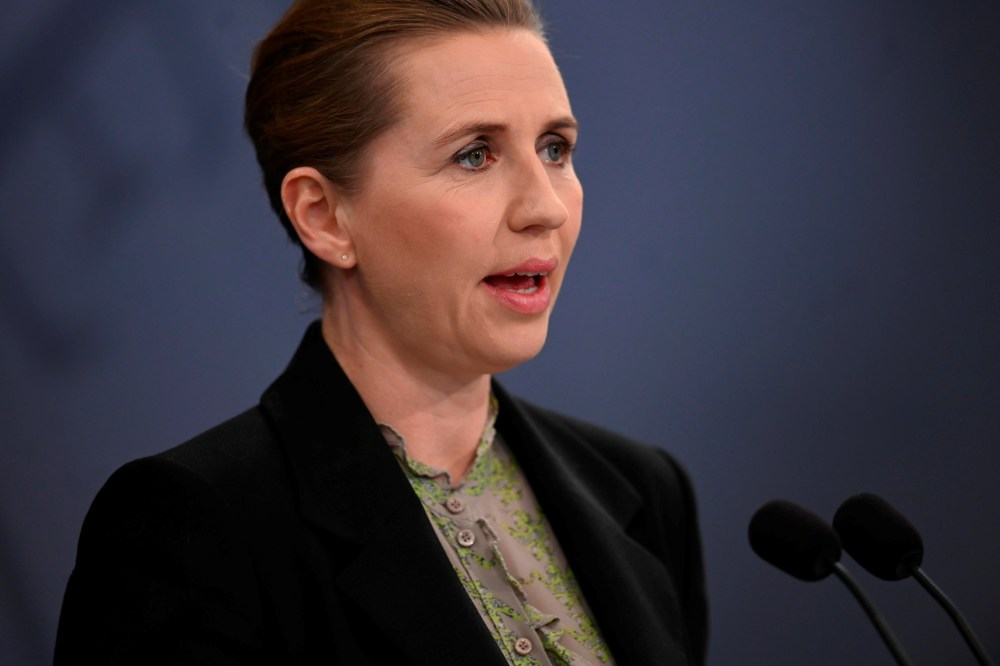 Danish Prime Minister Mette Frederiksen speaks during a news conference on the coronavirus disease outbreak, at her office in Copenhagen April 6, 2020. ― Handout via Reuters