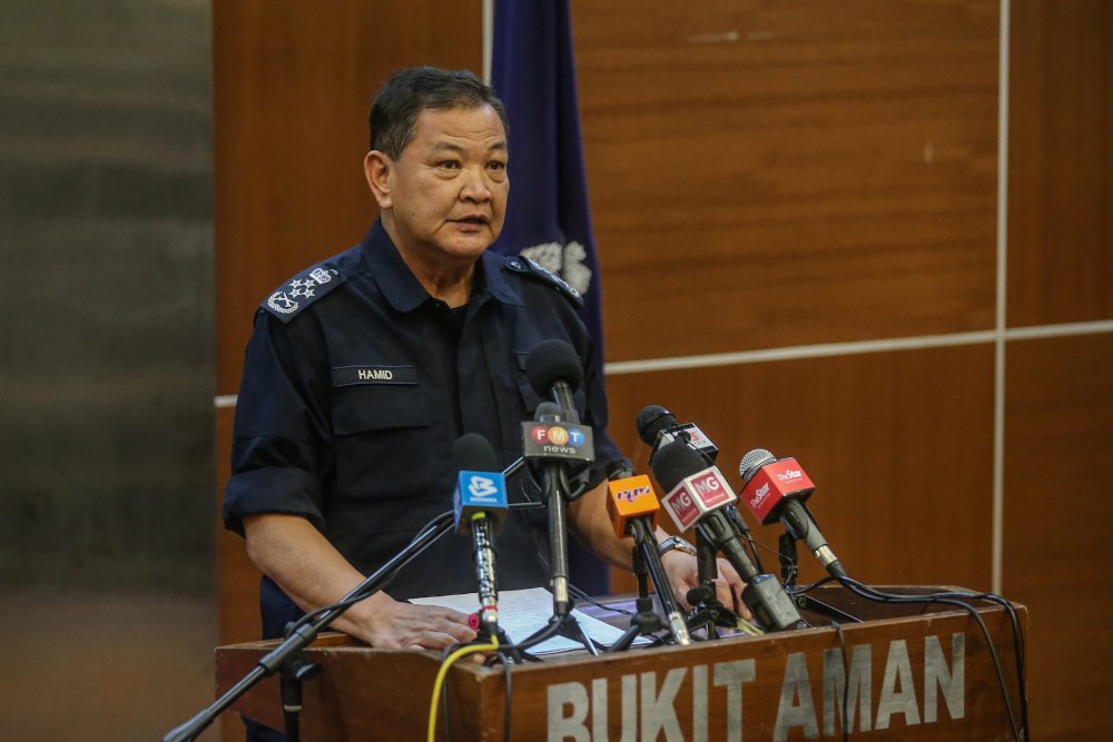 Inspector-General of Police Tan Sri Abdul Hamid Bador said PDRM is in the midst of studying the details of the RMCO enforcement measures. — Picture by Firdaus Latif