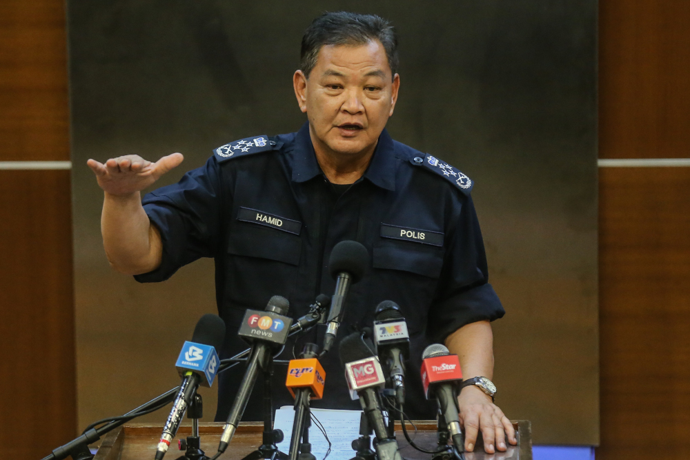 Inspector-General of Police Tan Sri Abdul Hamid Bador speaks during a press conference in Kuala Lumpur April 6, 2020. — Picture by Firdaus Latif