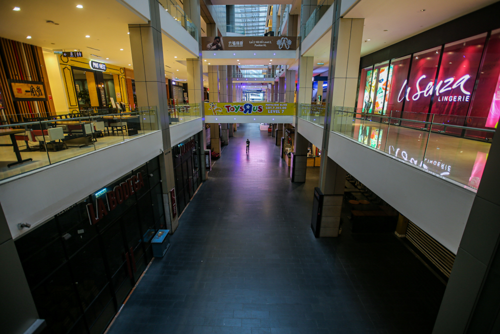 A general view inside the Pavilion Shopping centre during the third phase of the movement control order April 16, 2020. — Picture by Hari Anggara