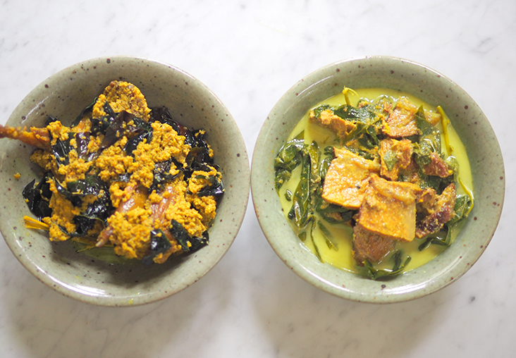 There is also a selection of Negeri Sembilan dishes, like this 'burung puyuh salai daun puding' (left) and 'daging salai masak lemak' (right)