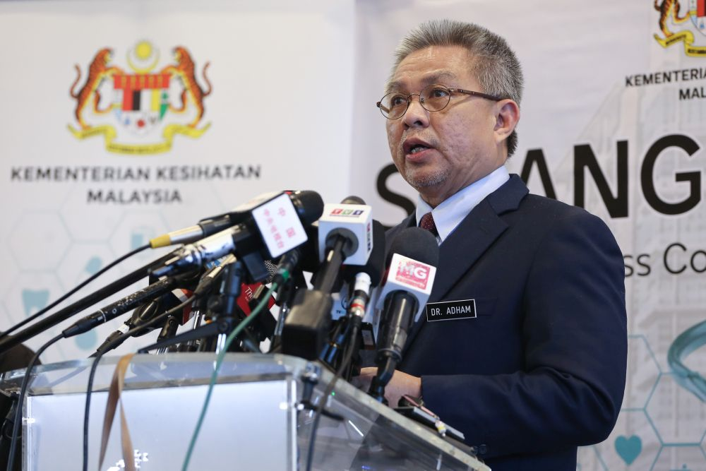 Health Minister Datuk Seri Dr Adham Baba speaks during a press conference at the Malaysia Agro Exposition Park Serdang April 3, 2020.  — Picture by Yusof Mat Isa
