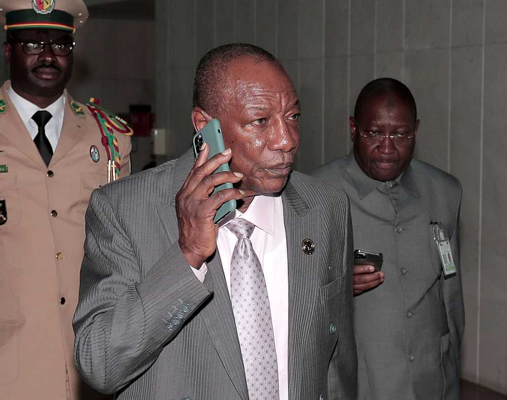 Guinea's President Alpha Conde is striving for a third term despite criticism. — Reuters pic