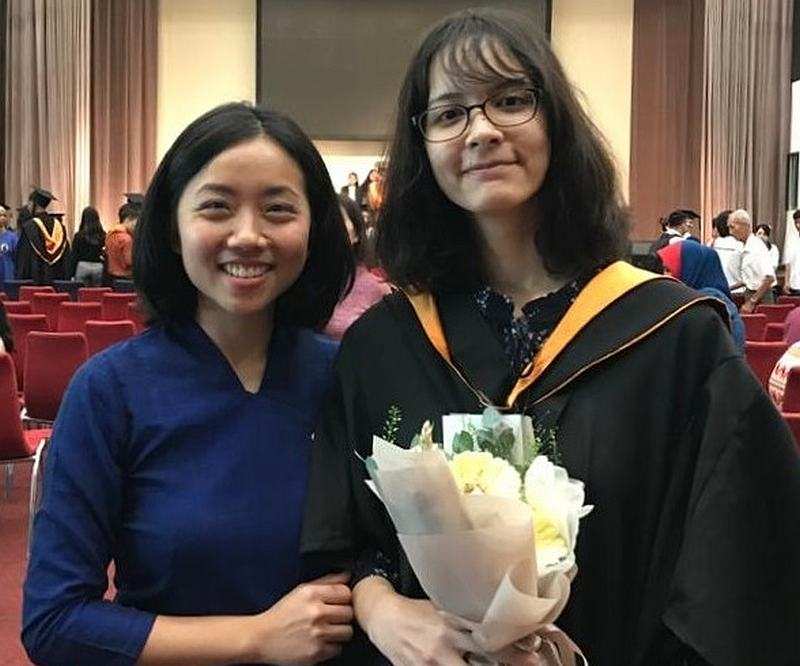 Dignity's head of secondary education Rebecca Lin stands proudly next to Saima on her graduation day from the foundation. — Picture courtesy of Dignity for Children Foundation