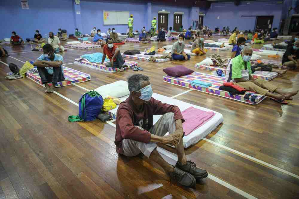 Over 500 people were rounded up by the Kuala Lumpur City Hall (DBKL) and given a two-week stay at four different shelters across the capital, as the country weather the two-week extended MCO until April 14. ― Picture by Yusof Mat Isa