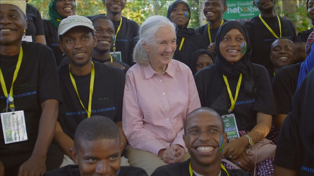 Goodall pictured with the Zanzibar division of her global youth programme Roots and Shoots, which aims to mould its members into compassionate leaders that care for their community and the environment. — Picture courtesy of National Geographic
