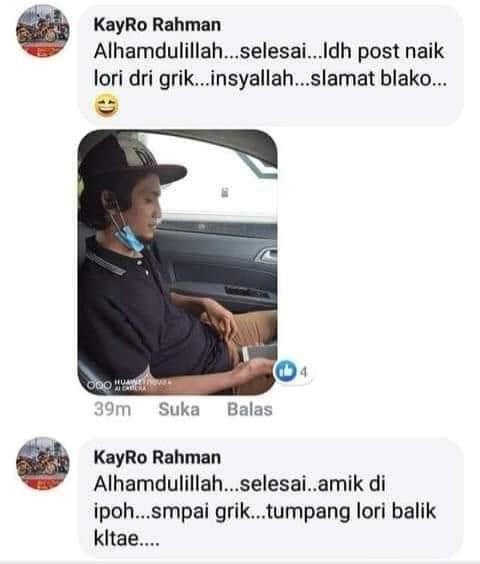 The lorry driver said that Matnoe will be riding with him now. — Screengrab via Facebook/Matnoe Poksu Din