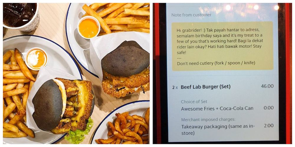The thoughtful customer ordered two sets of burgers to reward food delivery riders for their efforts during the MCO period. — Pictures from Instagram/@myburgerlab