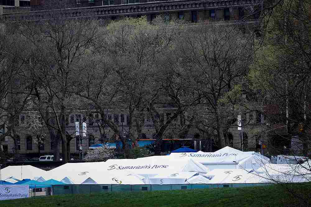 The Samaritan's Purse Emergency Field Hospital is seen in Central Park in Manhattan during the Covid-19 outbreak in New York April 8, 2020. — Reuters pic