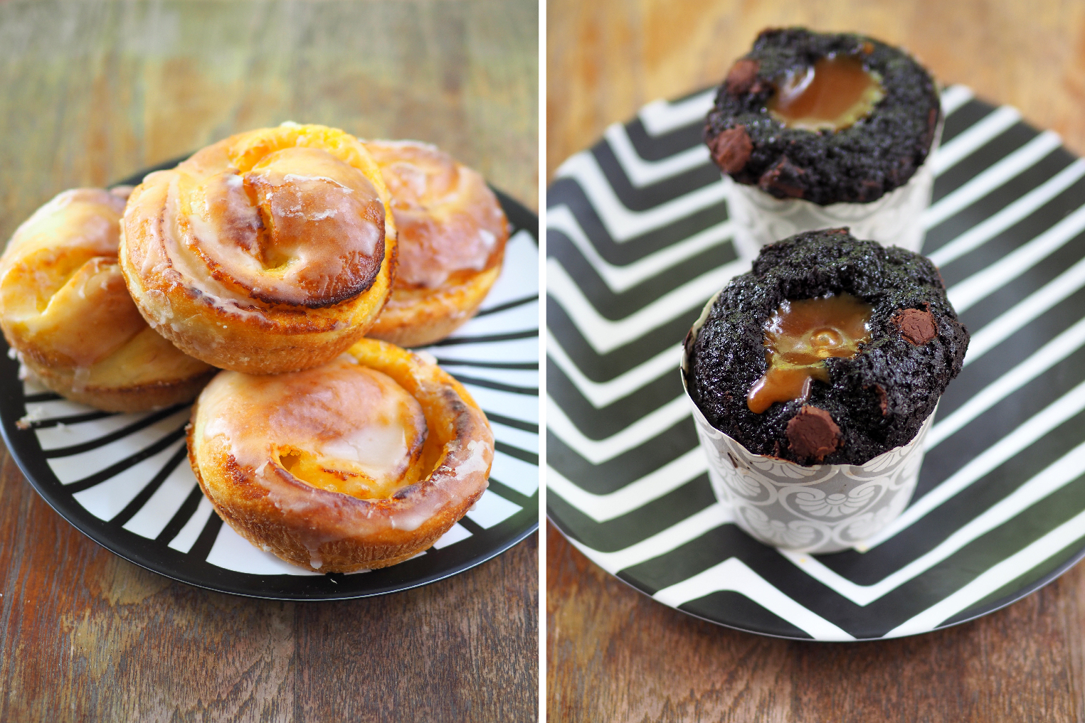 Lemon soft roll is a little doughy but there's a light citrus glaze over it for something different (left). Chocolate muffins have a fluffy texture but not overly rich chocolate taste balanced by a pool of caramel to give it a slight sweetness (right)