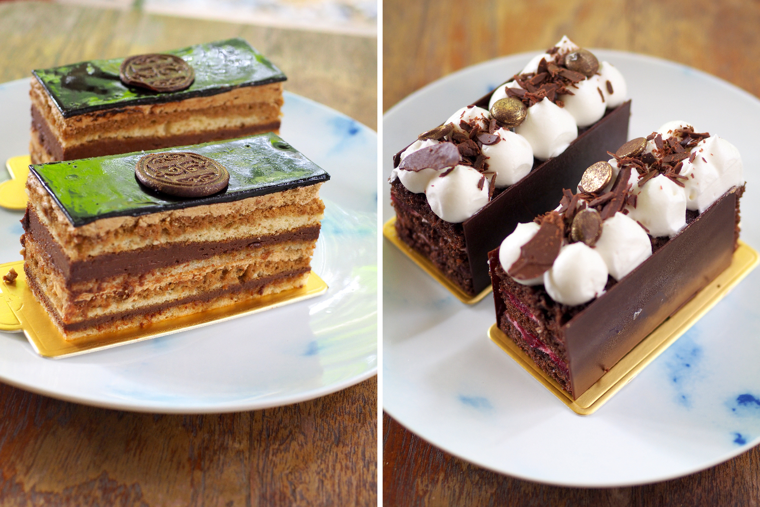 Opera cake comes with multiple layers of chocolate and a nice coffee flavour (left). Black forest cake is picture perfect with its chocolate, cherry and cream layers (right)