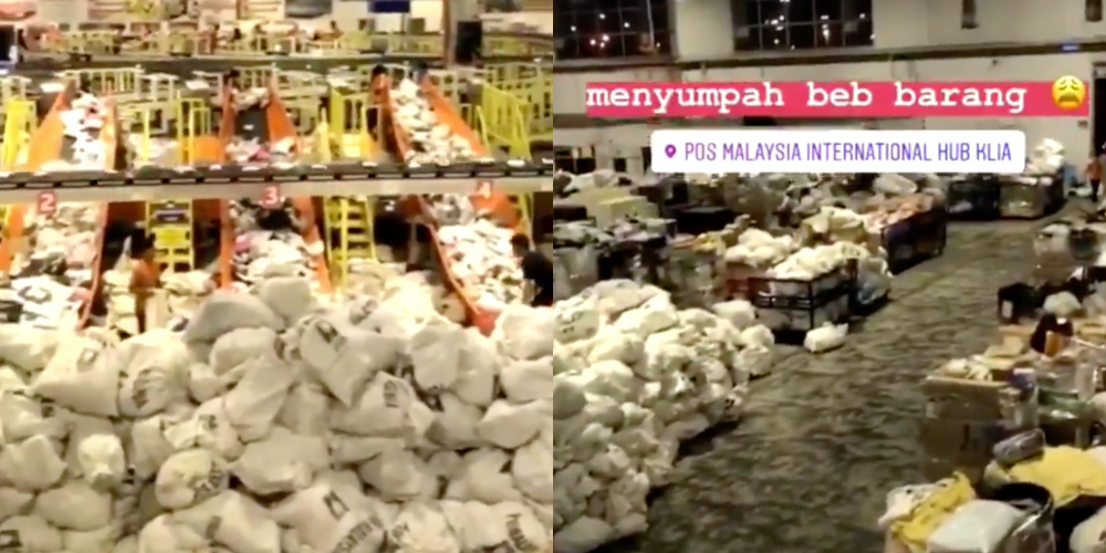 The video shows Pos Malaysia's processing hub at KLIA filled to the brim with parcels. — Screengrabs from Facebook/Adella Mohd Noor