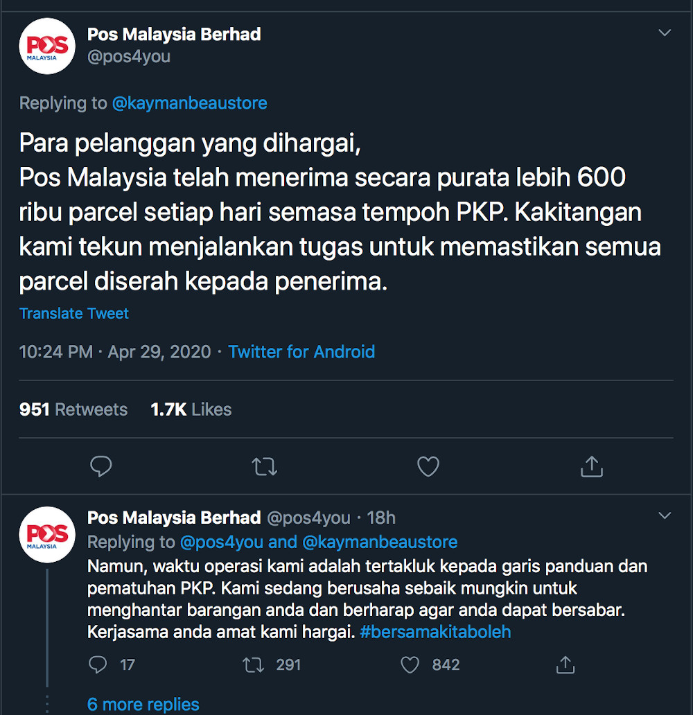 Pos Malaysia asked their customers to be patient as they clear the massive backlog of parcels that have accumulated due to the MCO. — Screengrab from Twitter/pos4you