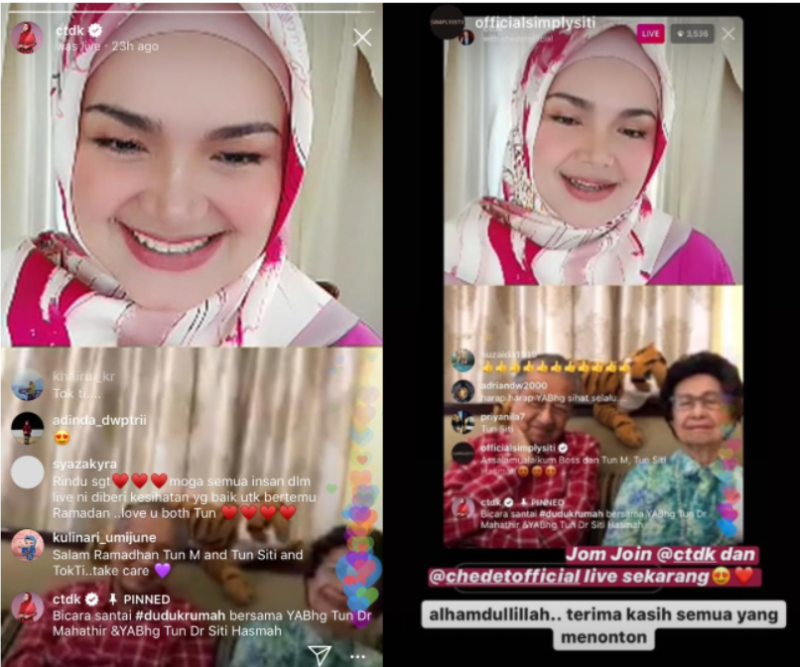 Dr Siti Hasmah noted that video calls have helped out a lot, especially when it comes to seeing her grandkids. — Instagram screengrab
