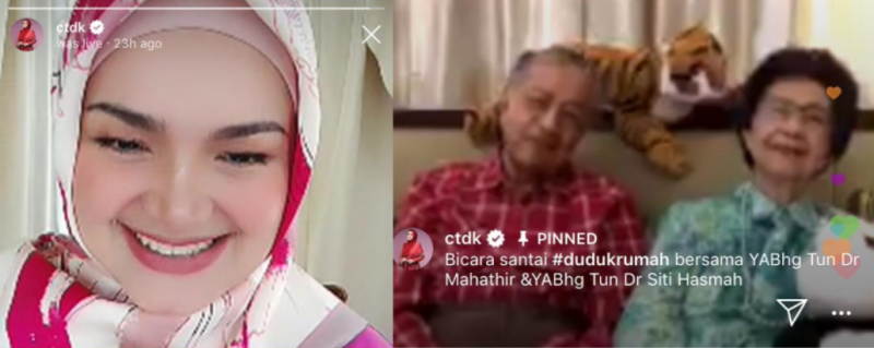 Siti Nurhaliza was all smiles as she spoke with the power couple. — Instagram screengrab