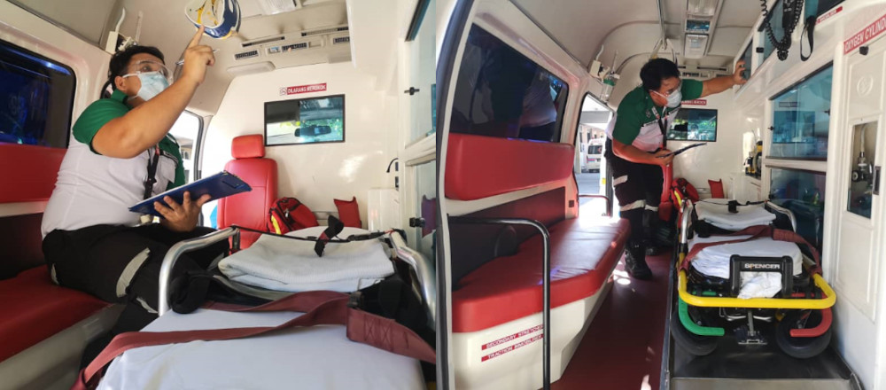 SJAM members sterilise the ambulance after every case. — Picture courtesy of St John's Ambulance of Malaysia