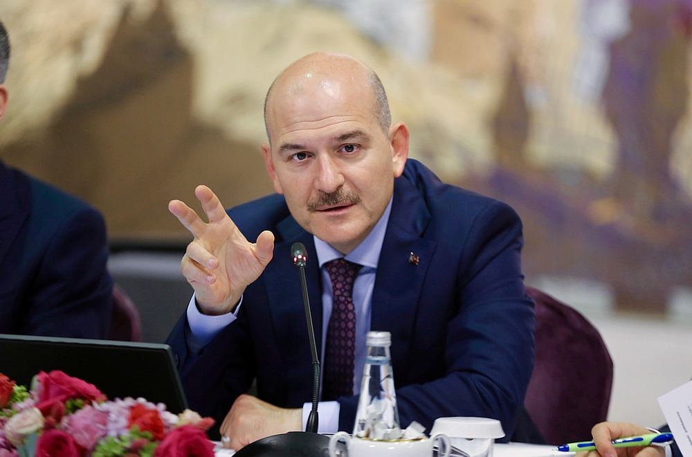 Turkish Interior Minister Suleyman Soylu at a news conference for foreign media correspondents in Istanbul, Turkey, August 21, 2019. — Ahmet Bolat/pool pic via Reuters