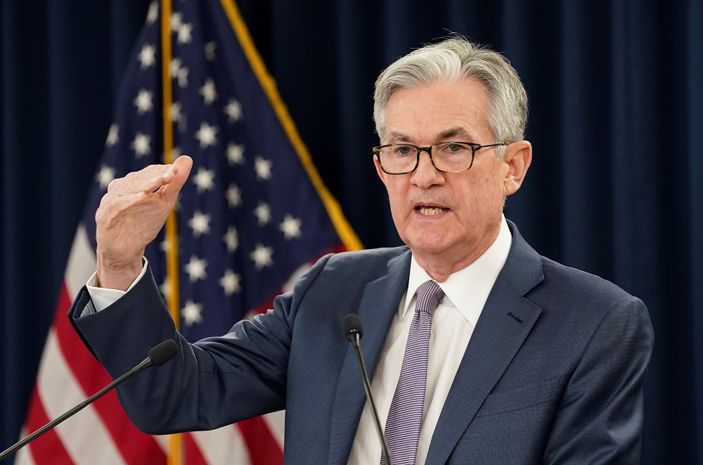 US Federal Reserve Chairman Jerome Powell speaks to reporters during a news conference in Washington March 3, 2020. — Reuters pic