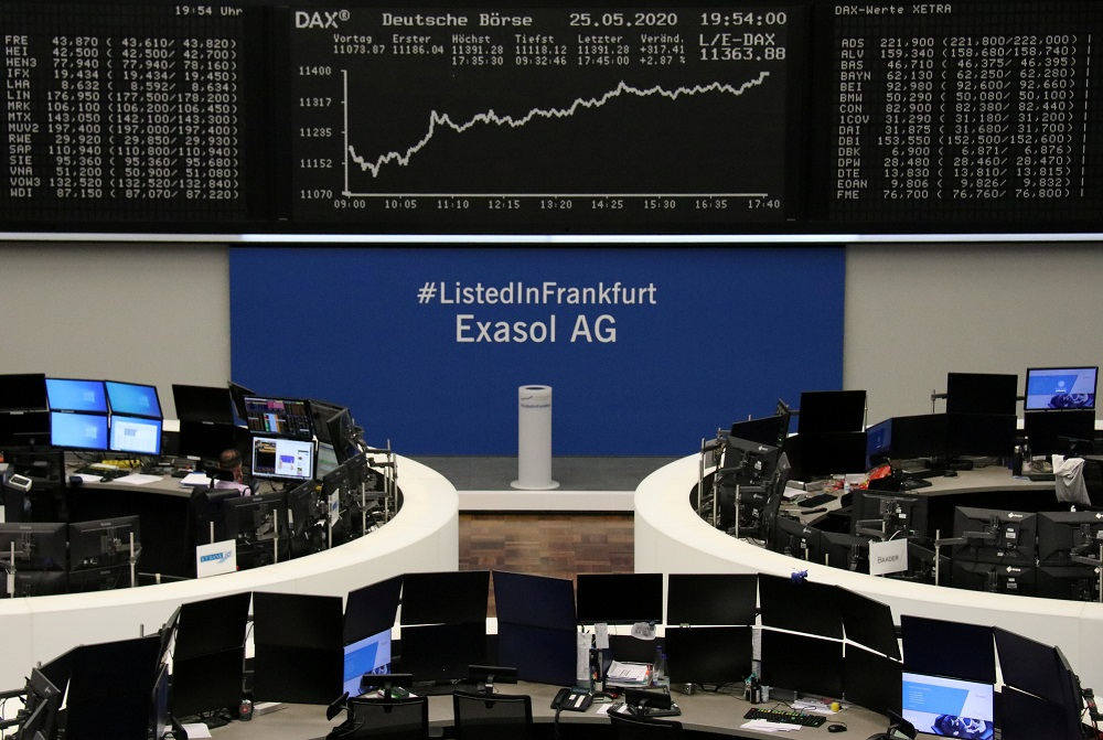 The German share price index DAX graph is pictured at the stock exchange in Frankfurt May 25, 2020. — Reuters pic