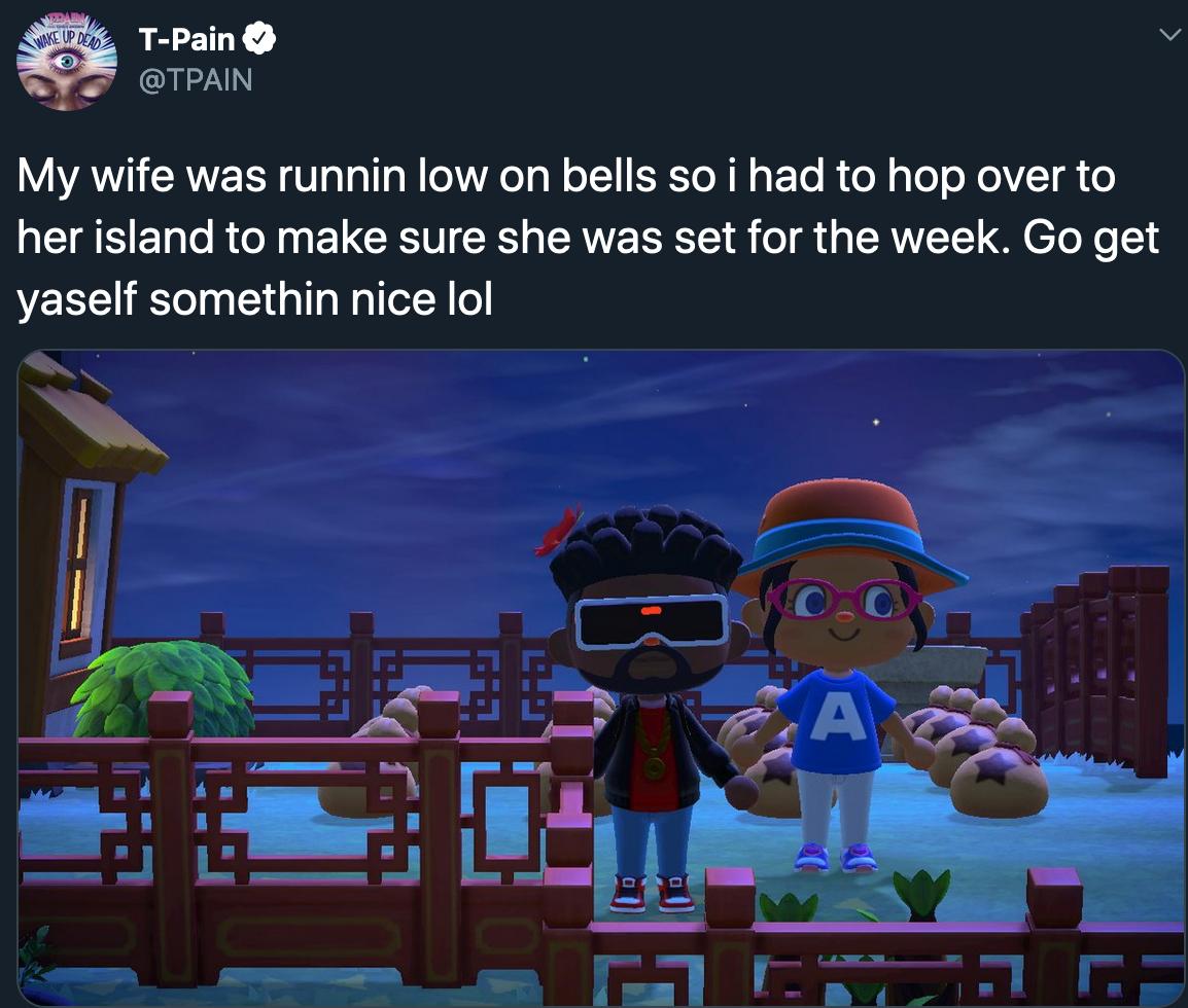 Fans are enjoying watching celebs share their 'Animal Crossing' adventures. — Twitter screenshot