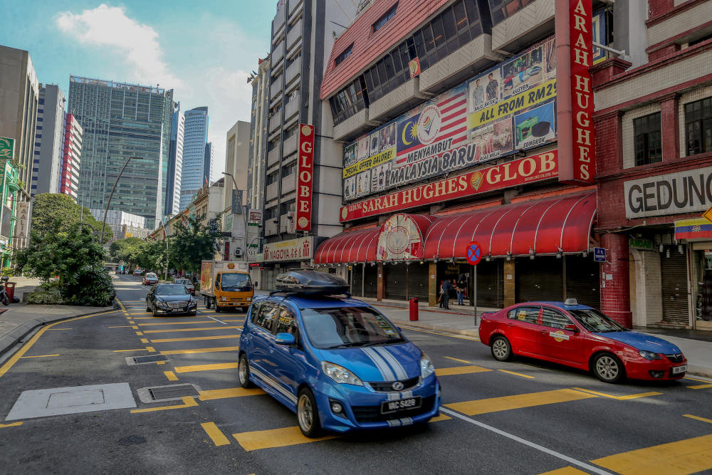 A general view of Jalan Tunku Abdul Rahman during the conditional movement control order (CMCO) in Kuala Lumpur May 5, 2020. — Picture by Firdaus Latif
