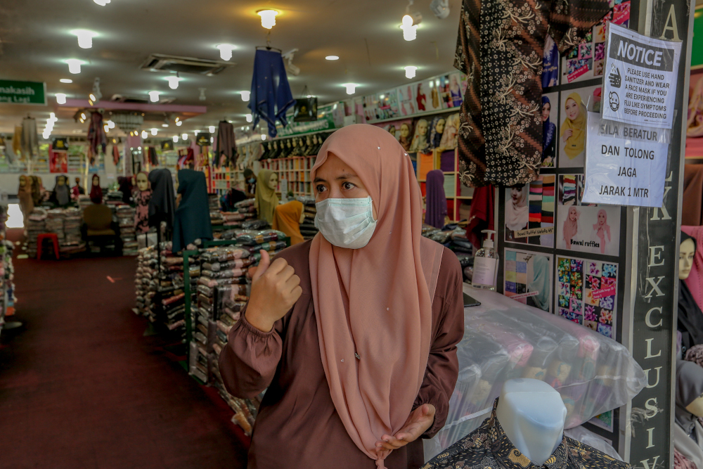 Mega Exclusive Wholesale's Lydawati Nadim speaks to Malay Mail during an interview at Jalan Masjid India May 5, 2020. — Picture by Firdaus Latif