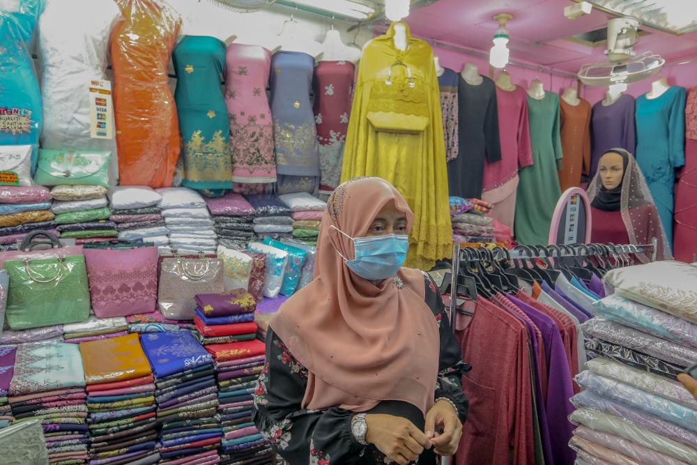 Dilla Textile Trading's Ferawati Akhiruddin speaks to Malay Mail during an interview at Jalan Tuanku Abdul Rahman May 5, 2020. — Picture by Firdaus Latif