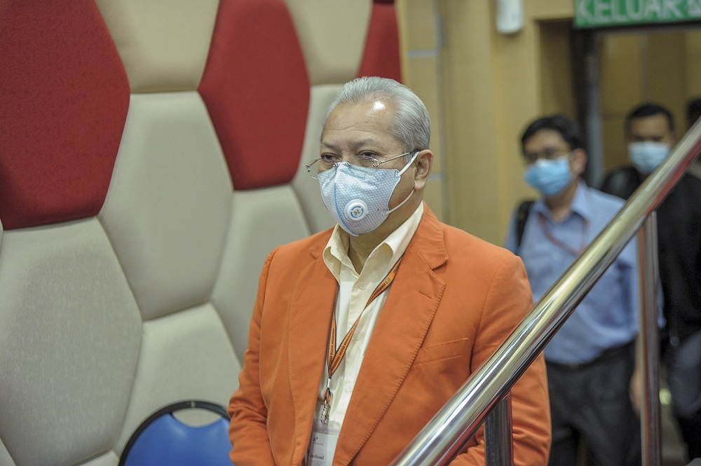 Barisan Nasional secretary-general Tan Sri Annuar Musa arrives for a press conference at PWTC in Kuala Lumpur May 14, 2020. — Picture by Shafwan Zaidon