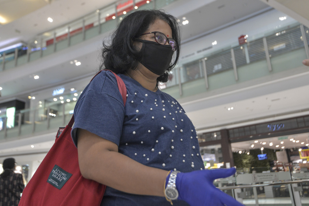 Navamani Thevarajah speaks to a reporter during an interview at Nu Sentral in Kuala Lumpur May 26, 2020 — Picture by Shafwan Zaidon