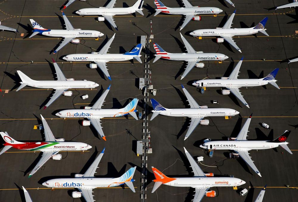 Grounded Boeing 737 MAX aircraft are seen parked in an aerial photo at Boeing Field in Seattle, Washington July 1, 2019. — Reuters pic