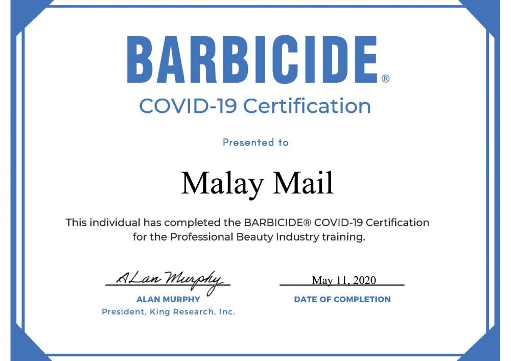 To acquire the Barbicide certification, one only needs to complete a course on its website.