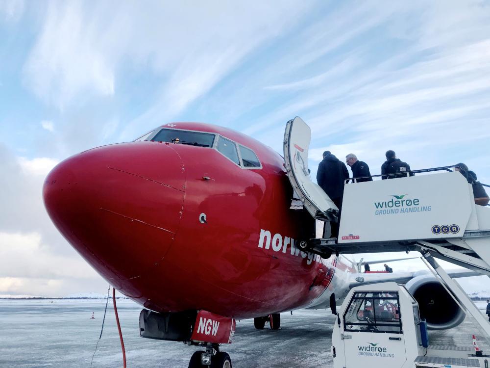 Passengers board a Norwegian Air plane in Kirkenes, Norway October 26, 2019. — Reuters pic