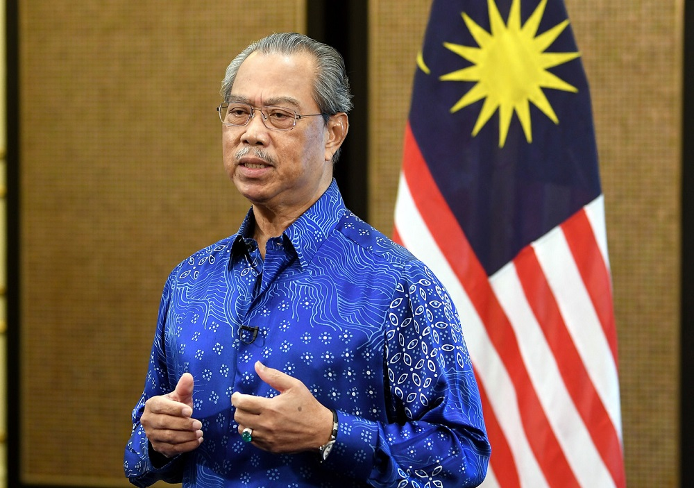 Prime Minister Tan Sri Muhyiddin Yassin speaks during a press conference in Putrajaya May 16, 2020. — Bernama pic