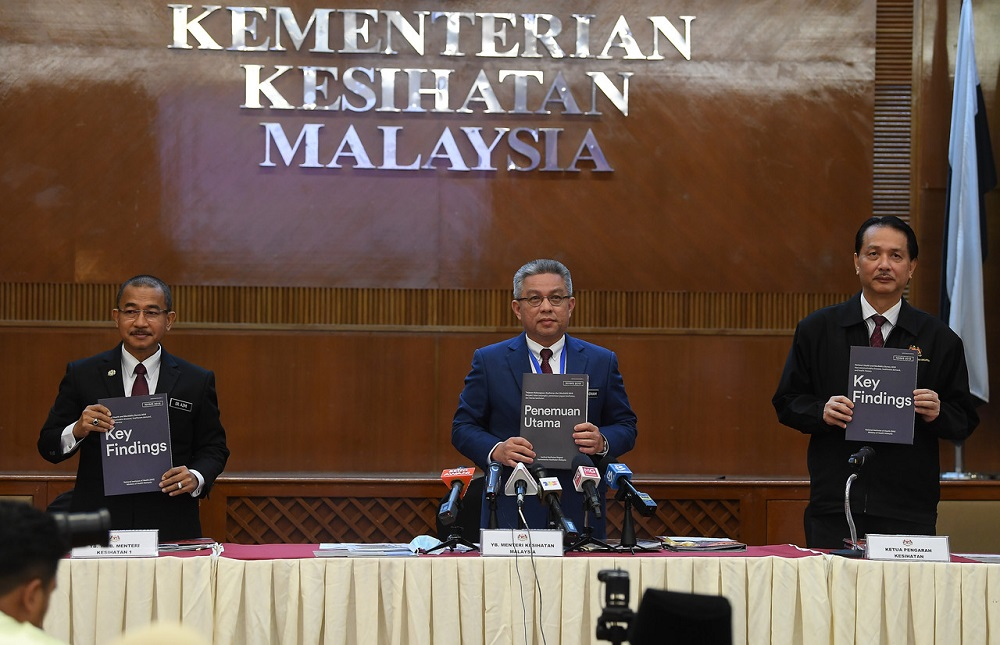 Health Minister Datuk Seri Dr Adham Baba (centre) presents the findings of the 2019 National Health and Morbidity Survey at the Health Ministry in Putrajaya May 29, 2020. — Bernama pic